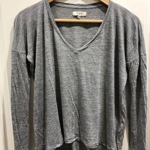 Madewell Gray V-Neck Long-Sleeve Tee Size XS